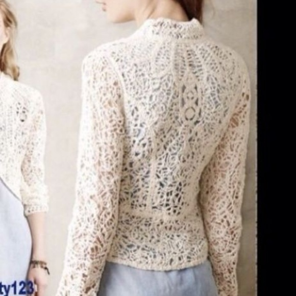Anthropologie Sweaters Angel Of The North Odense Crochet Cardigan